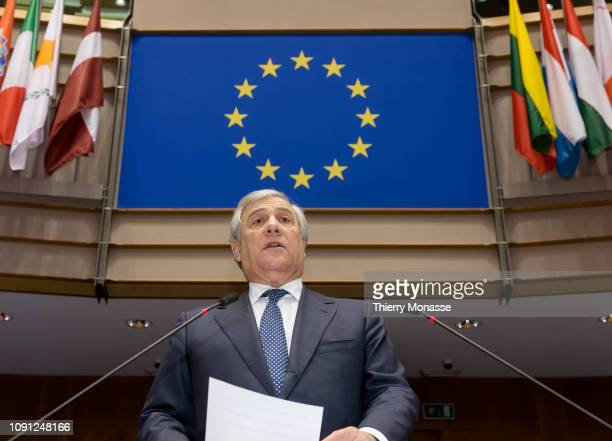 President of the European Parliament Antonio Tajani delivers a speech prior to a session of the European Parliament on January 30 2019 in Brussels...