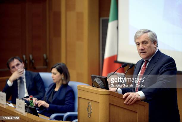 President of the European Parliament Antonio Tajani during the Presentation of the book 'The challenge of the digital economy' on November 20 2017 in...