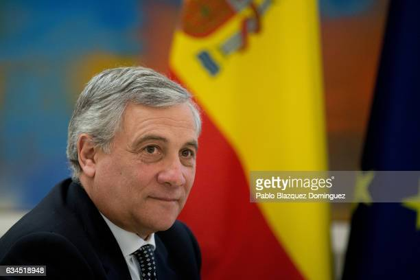 President of the European Parliament Antonio Tajani looks on during his meeting Spanish Prime Minister Mariano Rajoy at Moncloa Palace on February 10...