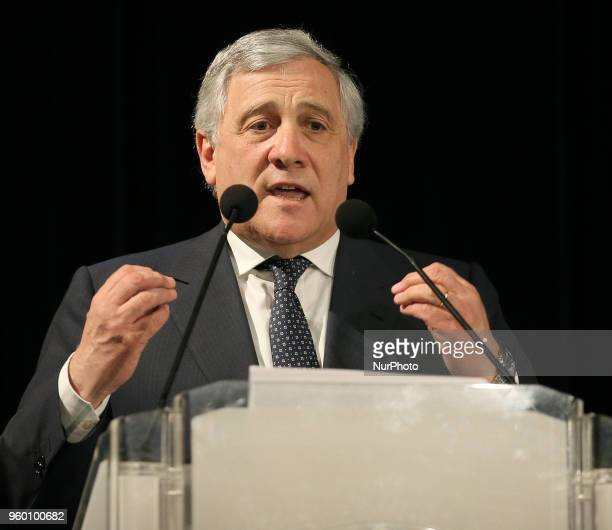 President of the European Parliament Antonio Tajani makes a speech during the presentation of the Major candidate of Messina Dino Bramanti in Messina...