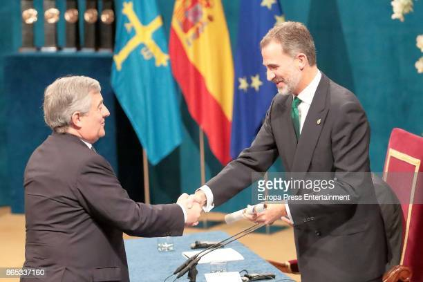 President of the European Parliament Antonio Tajani receives the Princesa de Asturias Awards 2017 for Concord 2017 from the hands of King Felipe of...