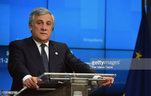 President of the European Parliament Antonio Tajani speaks during the press conference of the summit of European Union leaders on March 21 2019 in...