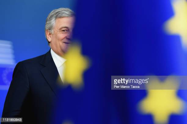 President of the European Parliament Antonio Tajani the arrives at the summit of European Union leaders on March 21 2019 in Brussels Belgium Leaders...