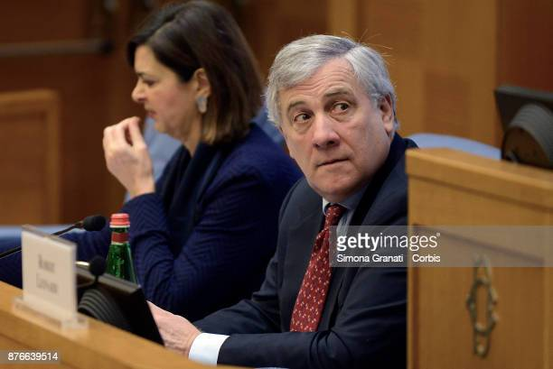 President of the European Parliament Antonio Tajani the President of the Chamber Laura Boldrini during the Presentation of the book 'The challenge of...
