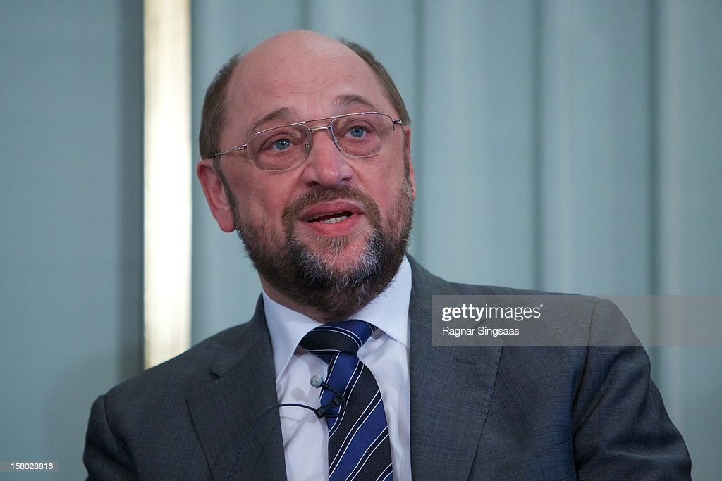 President of the European Parliament Martin Schultz talks to the media at the press conference ahead of the Nobel Peace Prize on December 9, 2012 in Oslo, Norway.