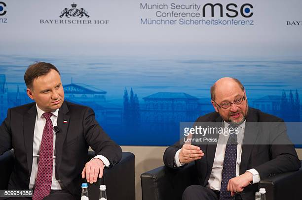 President of the European Parliament Martin Schulz and Polish President Andrzej Duda attend the 2016 Munich Security Conference at the Bayerischer...
