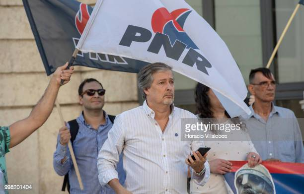 President of the farright National Renovator Party PNR Jose Pinto Coelho and few followers try to disrupt the protest against 'acts of racism that...