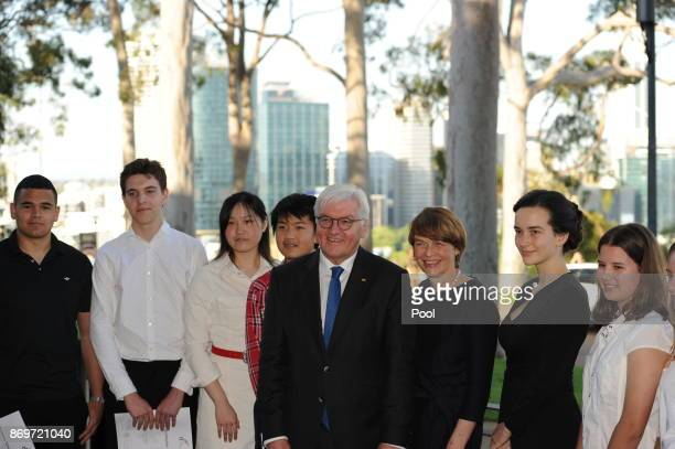 President of the Federal Republic of Germany FrankWalter Steinmeier meets German language students from Perth's Goethe Society as he visits Kings...
