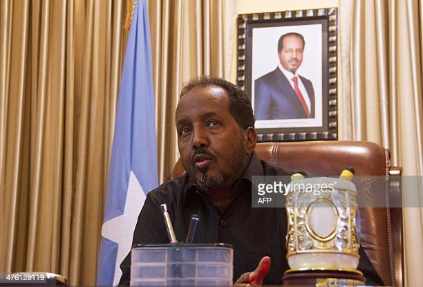 President of the Federal Republic of Somalia Hassan Sheikh Mohamud speaks to journalists during an interview at the Somali State House in Mogadishu...