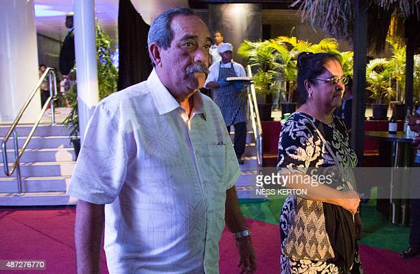 President of the Federated States of Micronesia Peter Christian arrives for the official opening of the 46th Pacific Islands Forum in Port Moresby on...