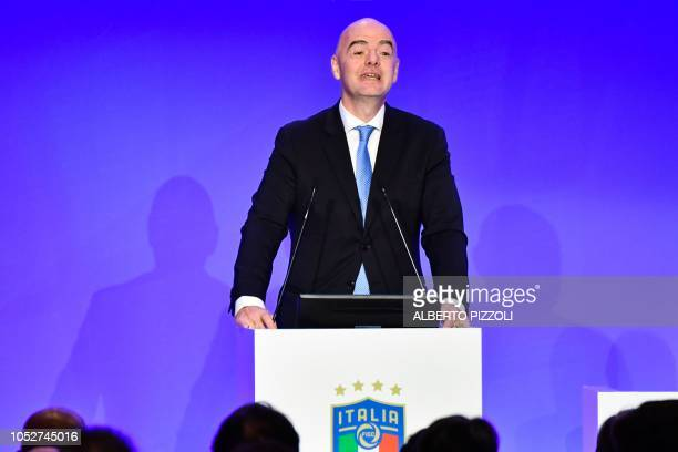 President of The Federation Internationale de Football Association Gianni Infantino delivers a speech during the elective assembly of the Italian...