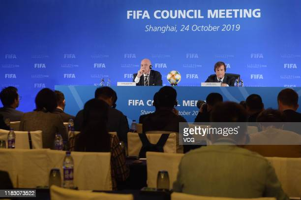 President of the Federation of International Football Associations Gianni Infantino attends the FIFA Council Meeting on October 24 2019 in Shanghai...