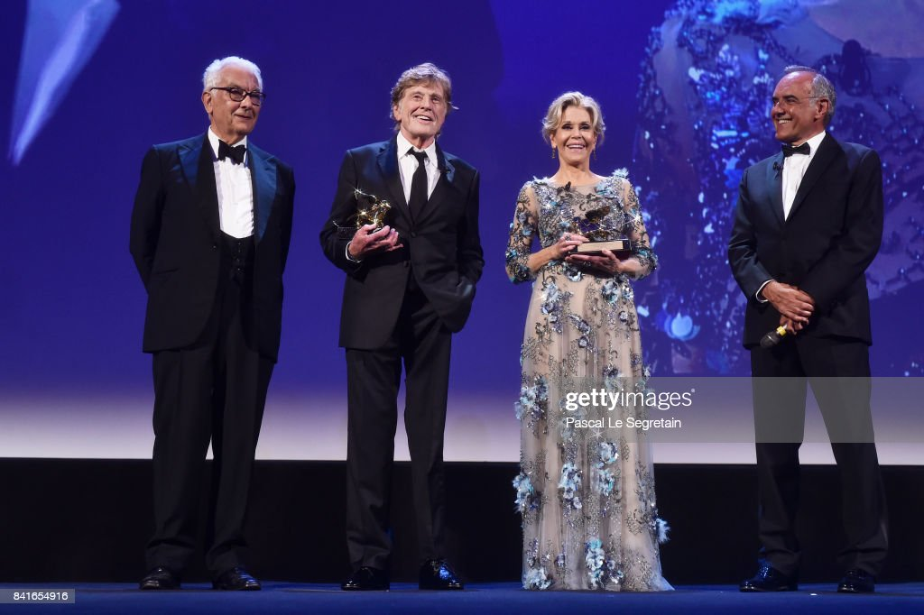 President of the festival Paolo Baratta, Robert Redford, Jane Fonda and director of the festival Alberto Barbera attend the Golden Lion For Lifetime Achievement Awards Ceremony during the 74th Venice Film Festival on September 1, 2017 in Venice, Italy.