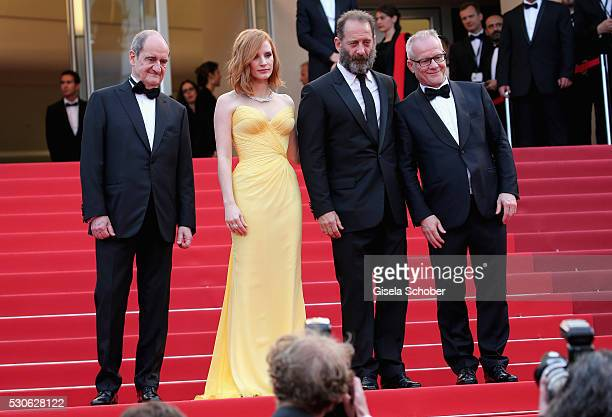 President of the festival Pierre Lescure actress Jessica Chastain actor Vincent Lindon and Thierry Fr��maux attend the 'Cafe Society' premiere and...