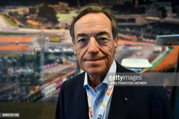 President of the FIA Endurance Committee Lindsay OwenJones poses before a press conference on June 16 2017 in Le Mans northwestern France ahead of...