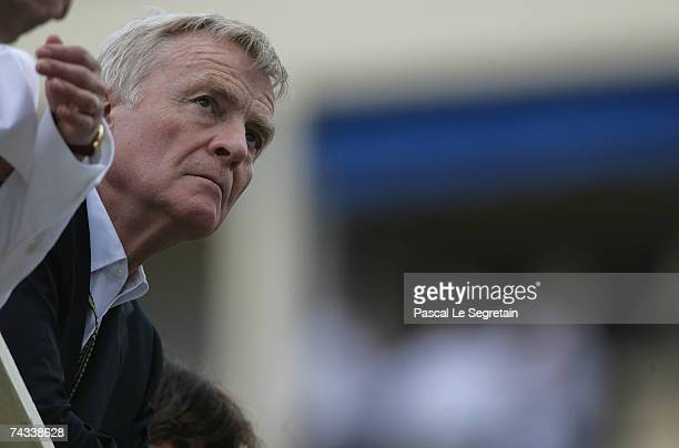 President of the FIA, Max Mosley watches the qualifying session for the Monaco Formula One Grand Prix at the Monte Carlo Circuit on May 26, 2007 in...