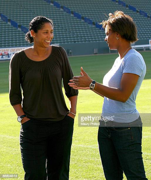 President of the FIFA Women's World Cup Organizing Committee Steffi Jones and athlete Karina Le Blanc during Steffi Jones visit to Los Angeles on...