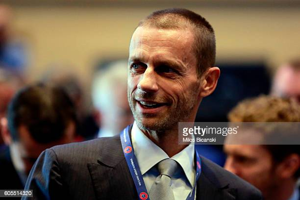 President of the Football Association of Slovenia and candidate for the UEFA presidency Aleksander Ceferin geticulate during the opening of the 12th...