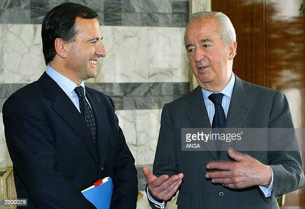 President of the Foreign affairs commission at the French National Assembly Edouard Balladur gestures as he confers with Italian Foreign Minister...