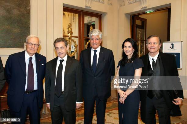 President of the foundation of the Memory of the Shoah Baron David de Rothschild Nicolas Sarkozy Maurice Levy Marie Drucker and Francis Huster attend...