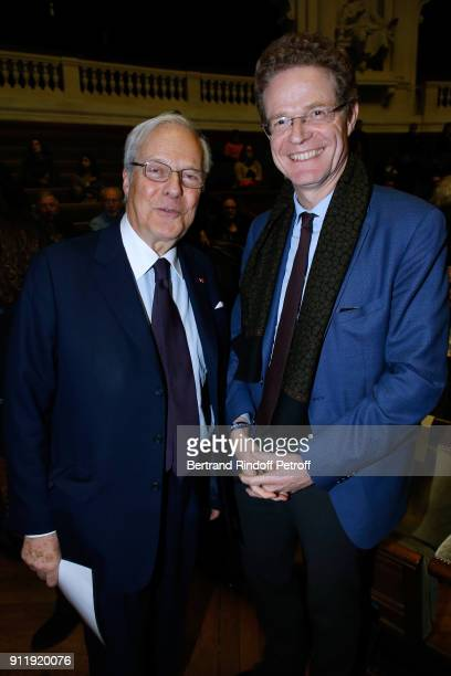 President of the foundation of the Memory of the Shoah Baron David de Rothschild and Ambassador of Germany to France Nikolaus MeyerLandrut attend the...