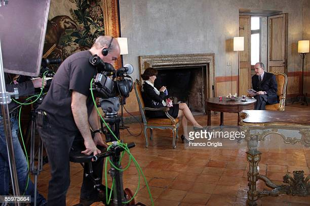 ROME APRIL 09 President of the French Academy in Rome Frederic Mitterand interviews Italian diva of 'La Doce Vita' Elsa Martinelli for his TF1...