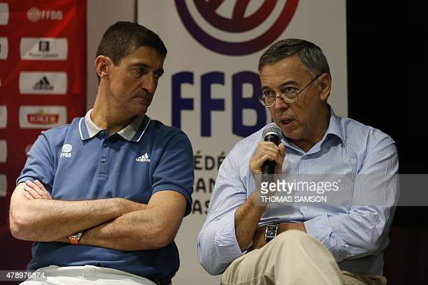 President of the French basketball Federation JeanPierre Siutat and national technical manager Patrick Beesley give a press conference in Paris on...