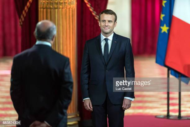 President of the French Constitutional Council Laurent Fabius and Emmanuel Macron attend Emmanuel Macron Officially Inaugurated as French President...