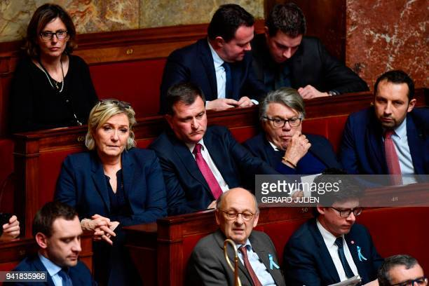 President of the French farright Front National party Marine Le Pen her companion the party's vice president Louis Aliot FN party member of...