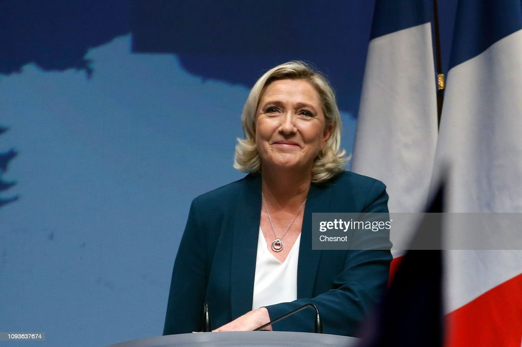 French far-right National Rally (RN) Political Party Leader, Marine Le Pen Launches European Elections' Campaign : ニュース写真