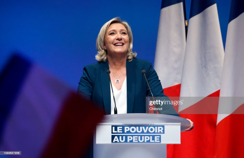 French far-right National Rally (RN) Political Party Leader, Marine Le Pen Launches European Elections' Campaign : News Photo