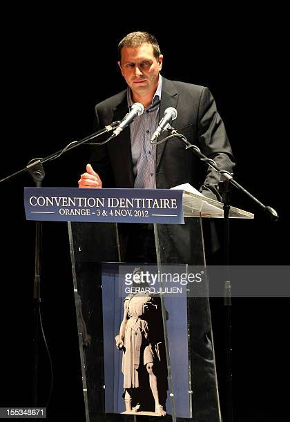 President of the French far-right organization Bloc Identitaire , Fabrice Robert, delivers a speech on November 3, 2012 at the Palais des Princes in...