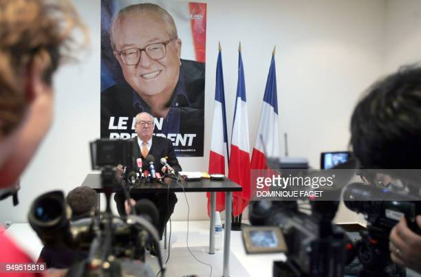 President of the French farright party Front National and candidate for the 2007 presidential election JeanMarie Le Pen gives a press conference 28...