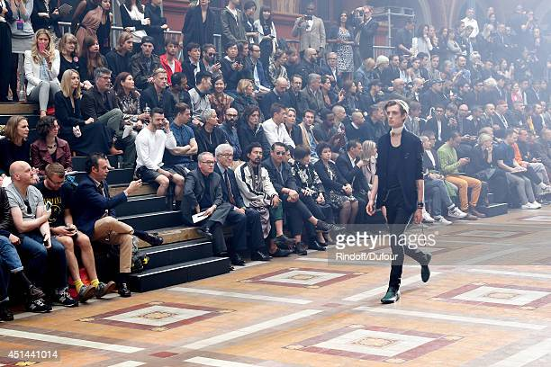 President of the French Federation of couture and readytowear Didier Grumbach and fashion designer Haider Hackermann attend the Lanvin show as part...