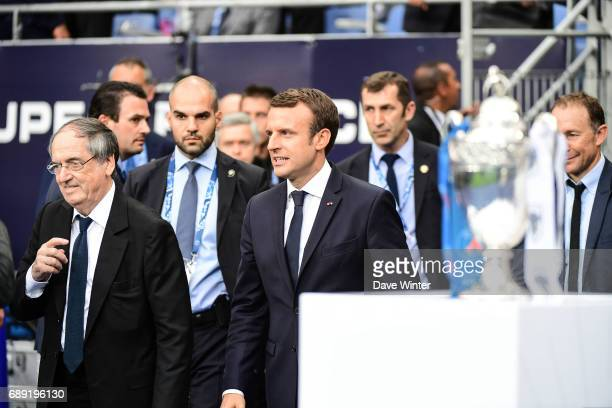 President of the French Football Federation Noel Le Graet and French president Emmanuel Macron during the National Cup Final match between Angers SCO...