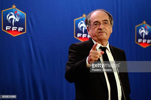 President of the French Football Federation Noel Le Graet attends a press conference at the FFF headquarters on December 10 2015 in Paris France The...