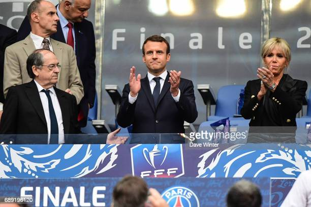President of the French Football Federation Noel Le Graet French president Emmanuel Macron and his wife Brigitte Macron during the National Cup Final...
