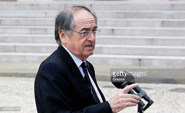 President of the French Football Federation Noel Le Graet speaks to the media after a lunch with French President Francois Hollande for the UEFA EURO...