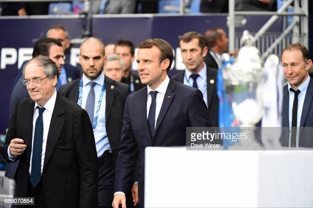 President of the French Football Federation Noel Le Great French president Emmanuel Macron and former player Jean Pierre Papin during the National...