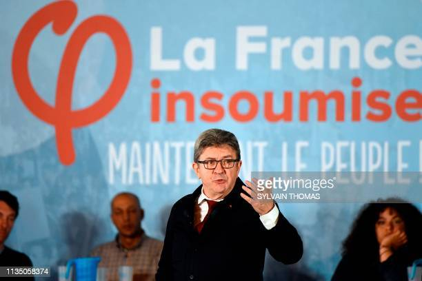 President of the French leftist La France Insoumise party Jean-Luc Melenchon gestures as he speaks during a meeting ahead of the European elections...