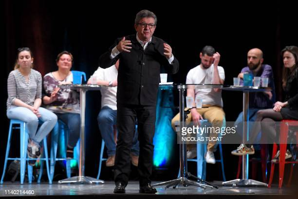 President of the French leftist La France Insoumise party JeanLuc Melenchon gestures as he speaks during a meeting ahead of the European elections in...