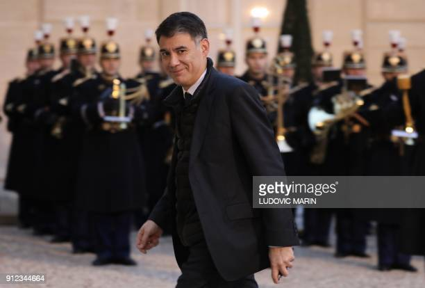 President of the French leftwing Nouvelle Gauche parliamentary group Olivier Faure arrives to attend the French president's New Year wishes to the...