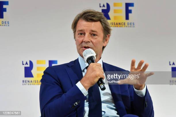 President of the French Mayors Association Francois Baroin attends at the meeting of French employers' association Medef themed 'The Renaissance of...