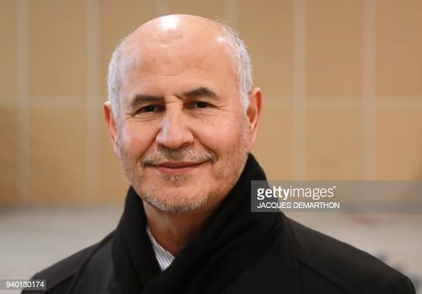 President of the French Muslim Association Amat Lasfar looks on during the 35th annual meeting of the French Muslim community on March 30 2018 at Le...