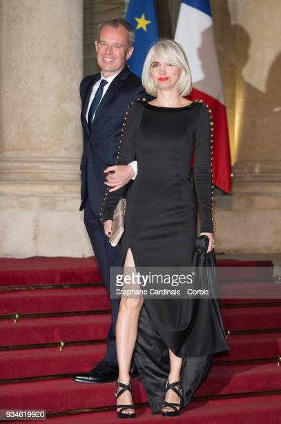 President of the French National Assembly Francois de Rugy and his wife French journalist Severine Servat arrive at the Elysee Palace on March 19,...