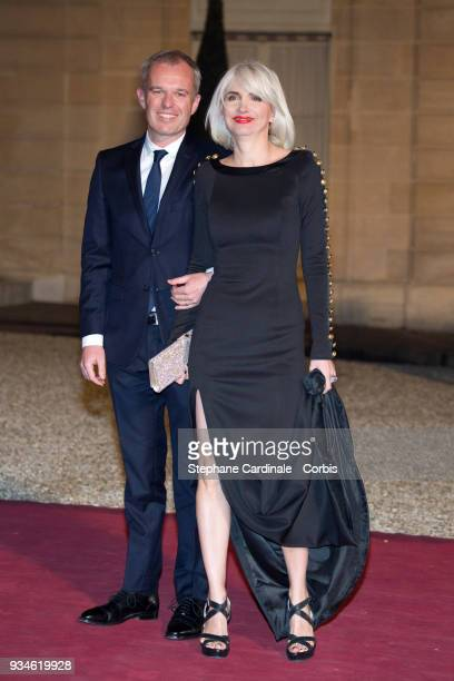President of the French National Assembly Francois de Rugy and his wife French journalist Severine Servat arrive at the Elysee Palace on March 19...