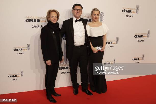 President of the French National Cinema Centre Frederique Bredin Managing Director of Canal Plus group Maxime Saada and his wife Sylvie pose upon...