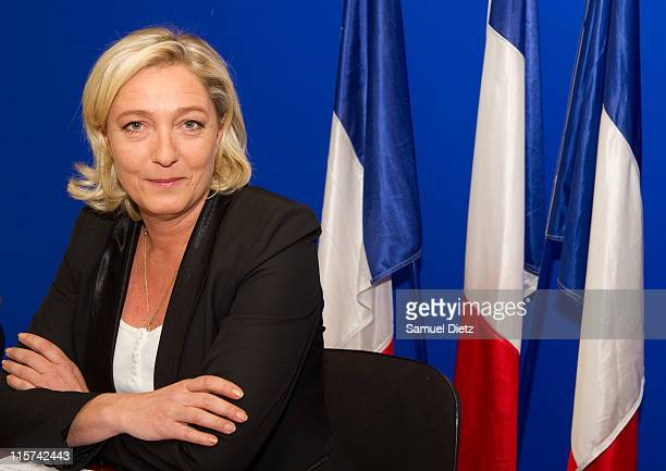 President of the French nationalist party 'Front National' and canditate to the upcoming French presidential election Marine Le Pen attends a press...