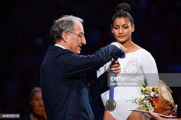 President of the French Olympic Committee Denis Masseglia during the FIG World Cup Challenge 'Internationaux de France' at AccorHotels Arena on...