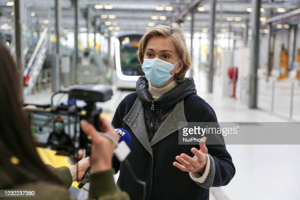 President of the French region of Ile-de-France Valerie Pecresse speaks to media during the inauguration of the new tramway T9 tram line between...